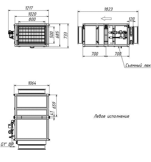 Габаритные и присоединительные размеры Breezart 4500 Aqua